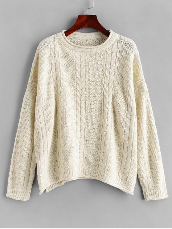 Suéter con hendidura y hombros caídos de punto de cable - Blanco Talla única