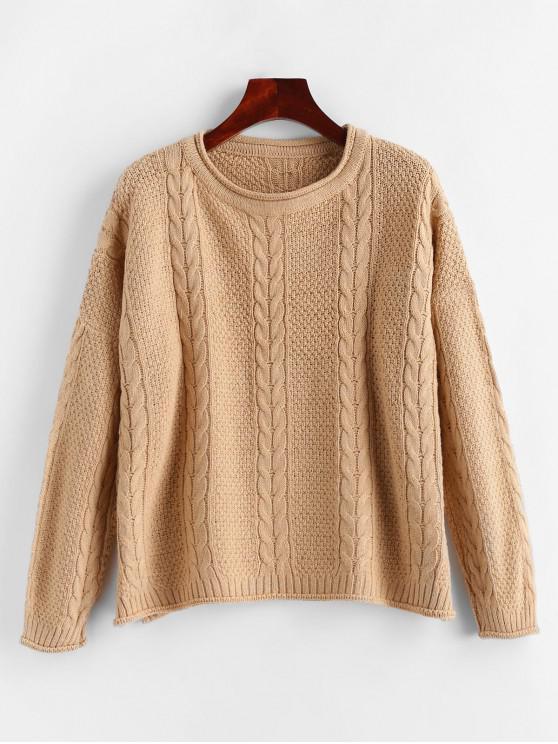 Suéter con hendidura y hombros caídos de punto de cable - Albaricoque Talla única