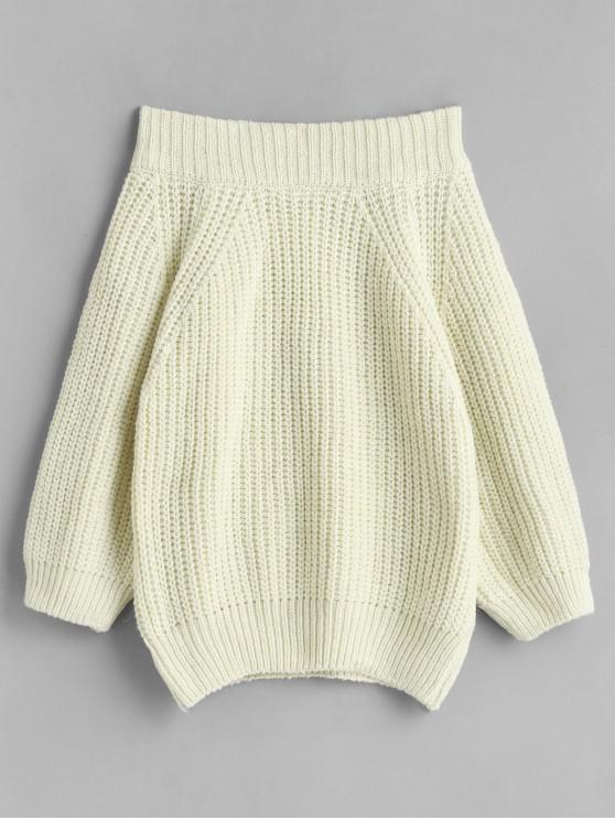 new Off Shoulder Chunky Knit Solid Sweater - WHITE ONE SIZE