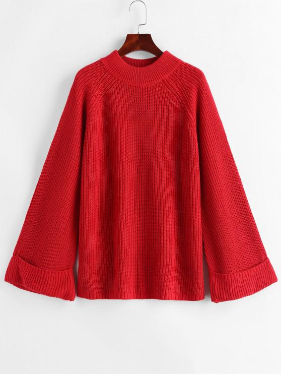 women Mock Neck Raglan Sleeve Cuffed Sweater - RED L