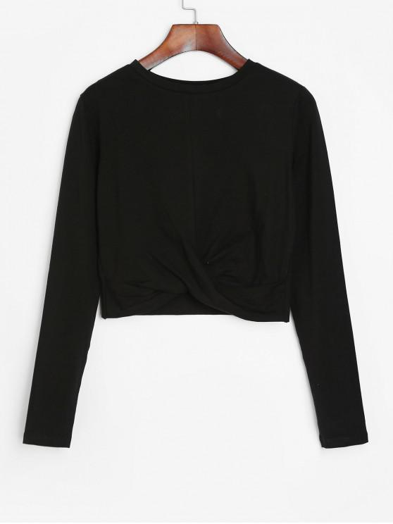 online Cropped Long Sleeve Twisted Hem Tee - BLACK XL