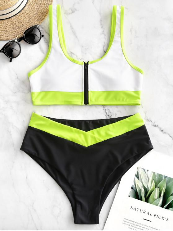 buy ZAFUL Neon Colorblock Piping Zipper High Cut Tankini Swimsuit - WHITE L