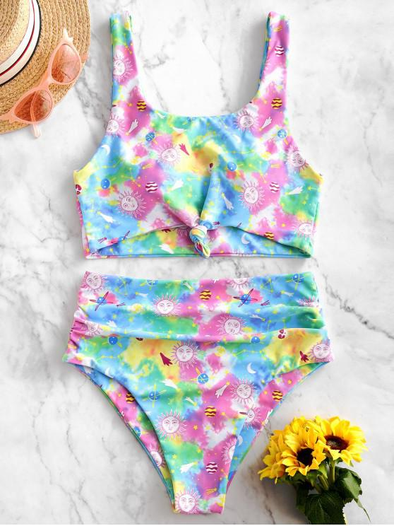 trendy ZAFUL Tie Dye Knotted Sun Planet Print High Cut Tankini Swimsuit - MULTI-A S