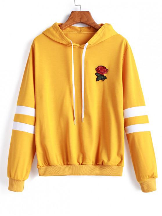 hot Flower Applique Striped Panel Pullover Hoodie - MUSTARD XL