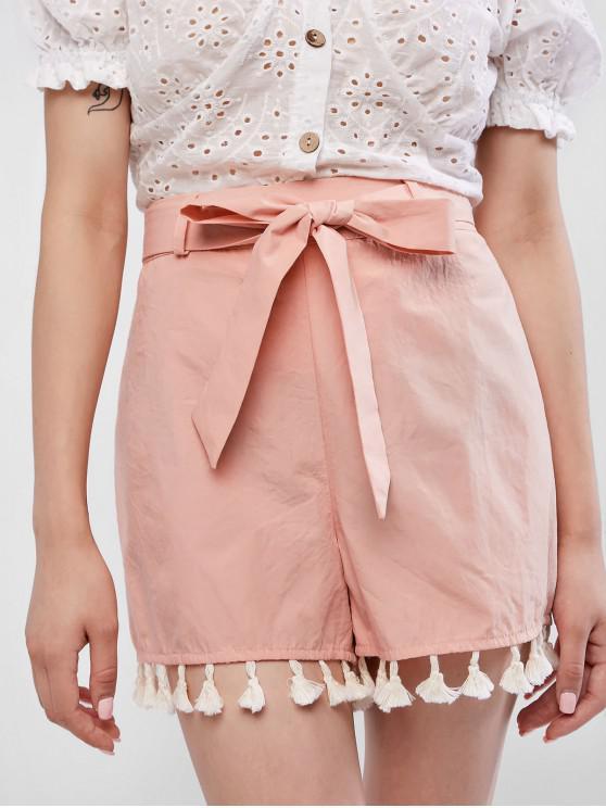 women's ZAFUL Tassels Belt High Waisted Shorts - ORANGE PINK M