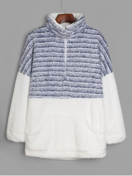 fancy Striped Half Zip Faux Fur Longline Sweatshirt - MULTI-B S