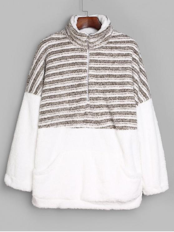 hot Striped Half Zip Faux Fur Longline Sweatshirt - MULTI-A L