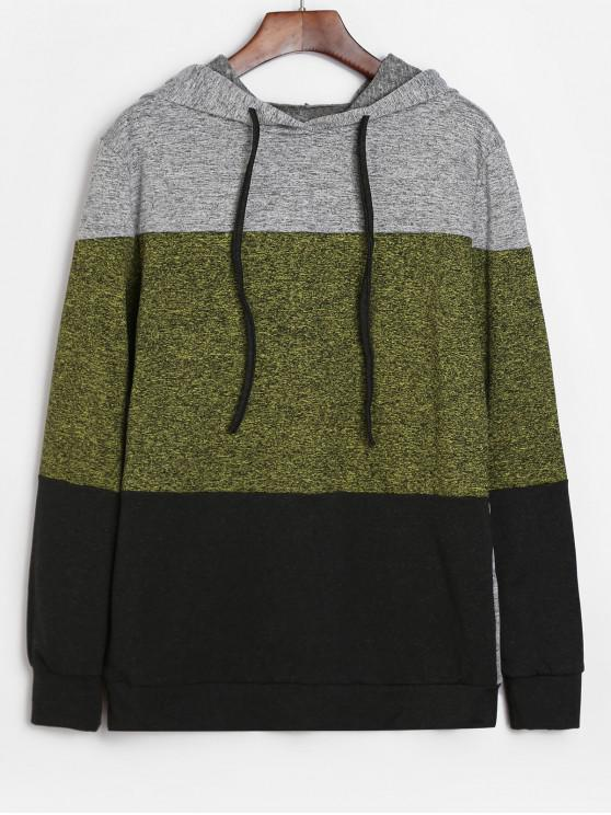 sale Color Block Heathered Drawstring Hoodie - MULTI-B XL