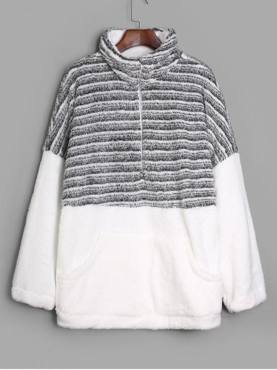 Sweat-shirt Long Rayé à Demi-Zip en Fausse Fourrure - Multi-D XL