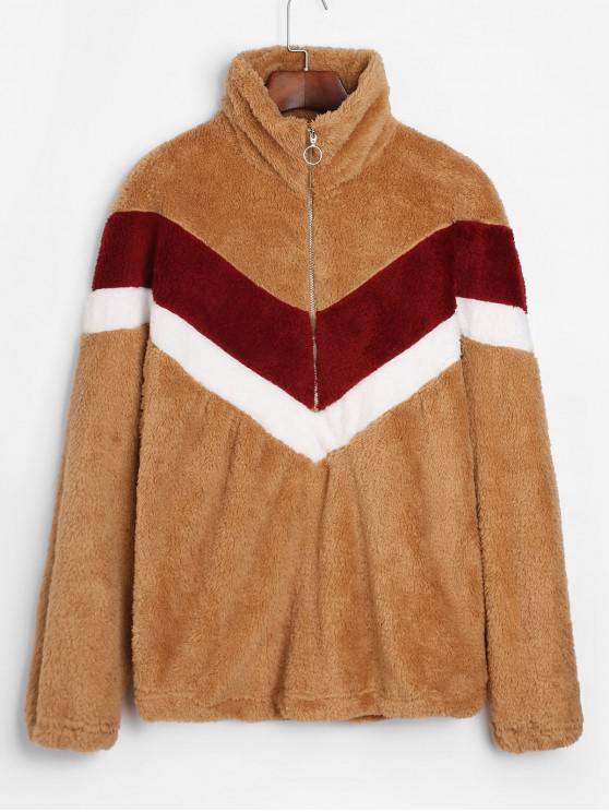 Sweat-shirt Demi-Zip Fourré en Blocs de Couleurs - Multi-A XL