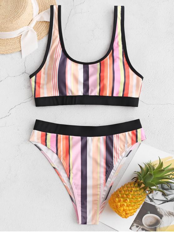 lady ZAFUL Colorful Striped Piping High Cut Tankini Swimsuit - MULTI-A S
