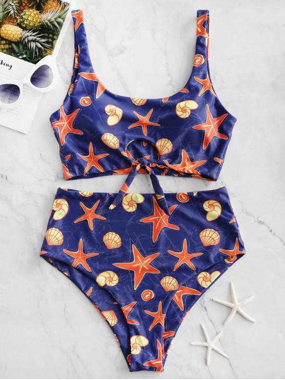 latest ZAFUL Starfish Shell Print Tied High Waisted Tankini Swimsuit - MULTI-A M