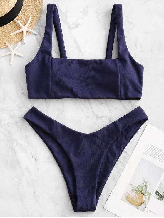 latest ZAFUL Textured Square High Leg Bikini Swimsuit - LAPIS BLUE L