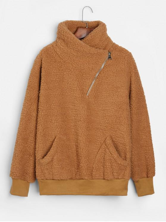 sale Asymmetric Zipper Pockets Faux Fur Sweatshirt - LIGHT BROWN S