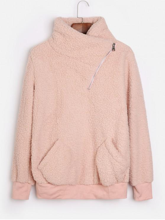 women's Asymmetric Zipper Pockets Faux Fur Sweatshirt - DEEP PEACH XL