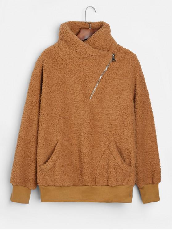 Sweat-shirt Asymétrique Zippé avec Poches en Fausse Fourrure - Brun Légère M