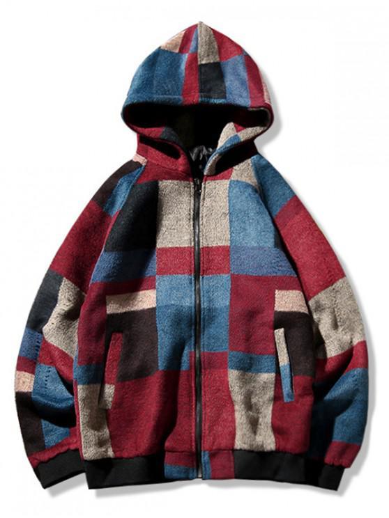 sale Color Blocking Spliced Raglan Sleeve Hooded Jacket - RED 2XL