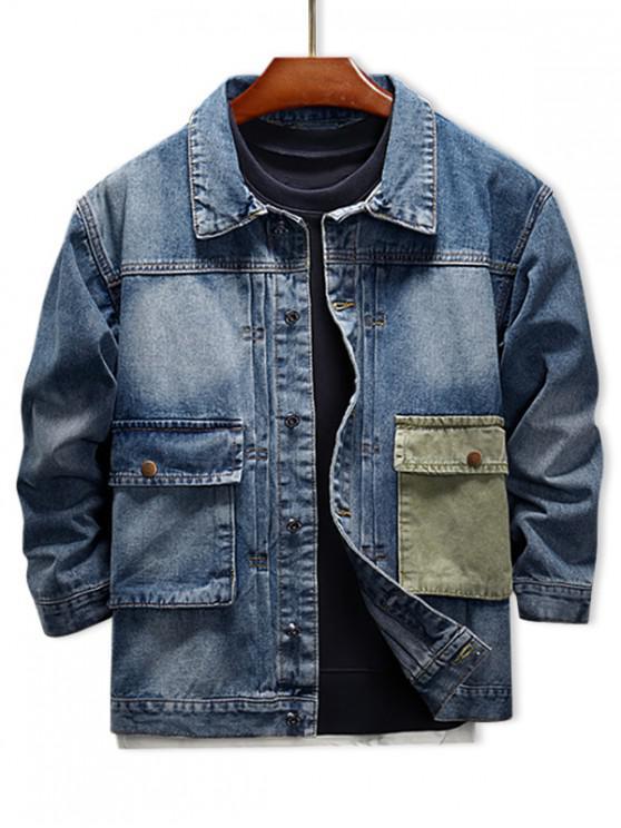 online Color Block Splicing Pocket Patchwork Denim Jacket - DENIM BLUE XL