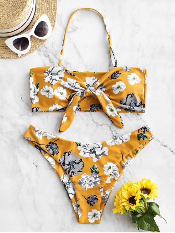 lady ZAFUL Flower Tied Halter Bikini Swimsuit - BEE YELLOW M