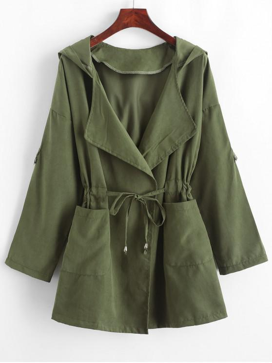 buy Solid Color Drawstring Hooded Coat - CAMOUFLAGE GREEN XL