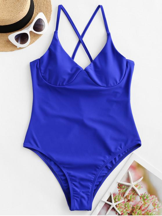 ladies ZAFUL Crisscross Tie Underwire One-piece Swimsuit - BLUEBERRY BLUE M