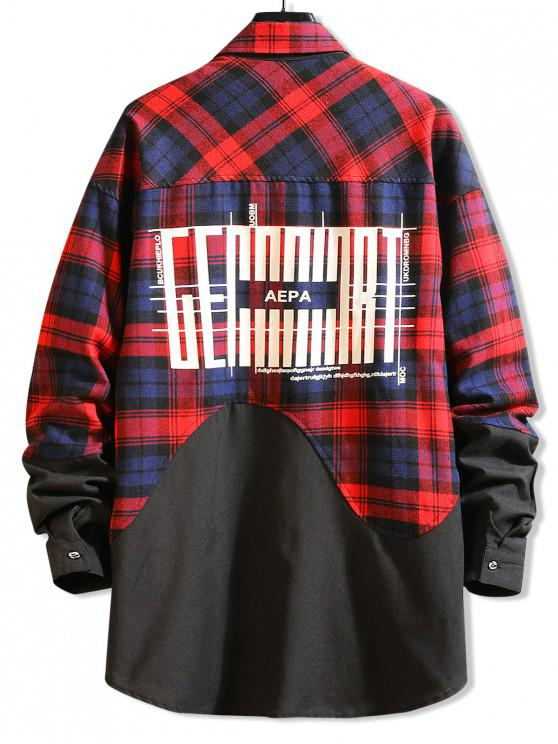 hot Color Block Splicing Plaid Graphic Long Shirt - RED M