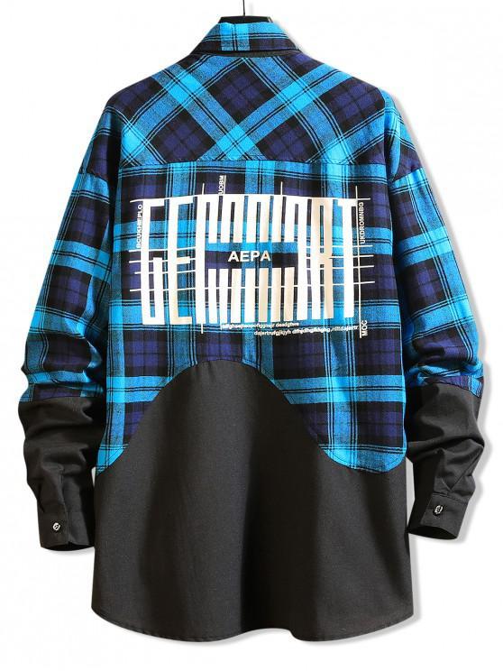 ladies Color Block Splicing Plaid Graphic Long Shirt - BLUE XS