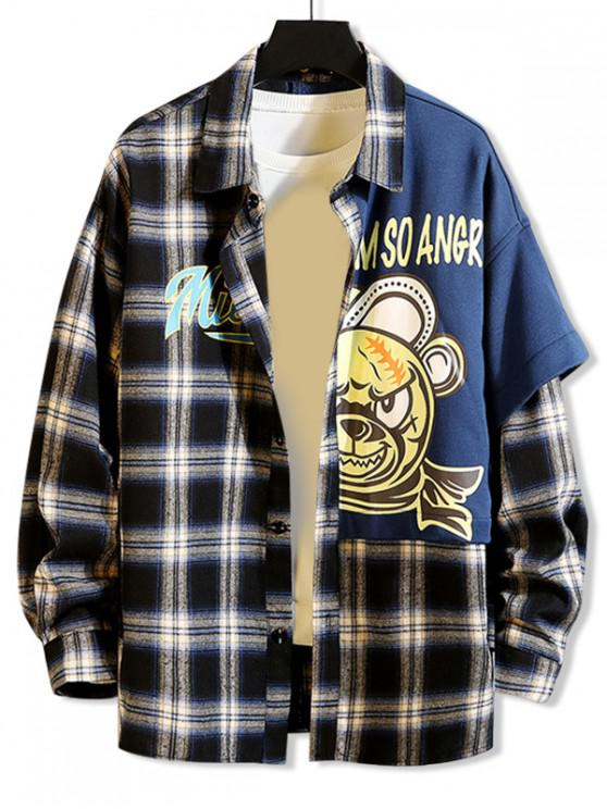 shops Cartoon Angry Bear Letter Spliced Patchwork Plaid Button Shirt - BLACK M