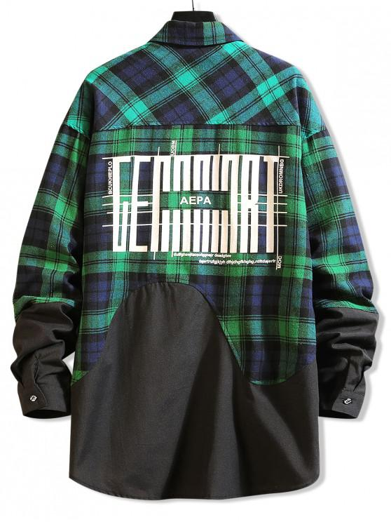 best Color Block Splicing Plaid Graphic Long Shirt - GREEN XS