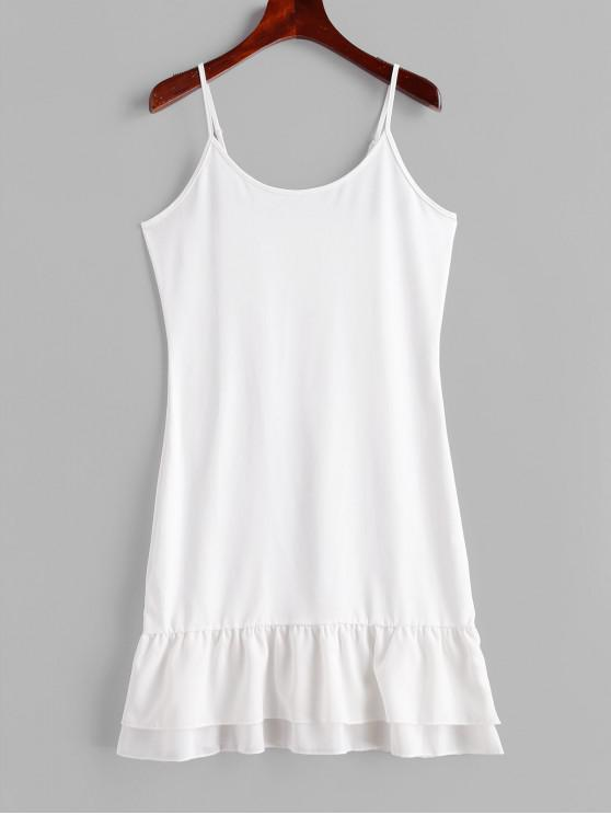 buy Tiered Flounce Slip Dress - NATURAL WHITE M
