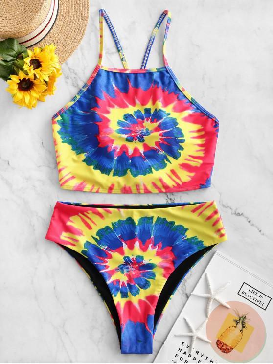 latest ZAFUL Spiral Tie Dye Print Cross High Cut Tankini Swimsuit - MULTI-A L