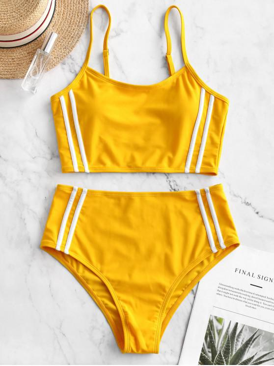 womens ZAFUL Striped Panel Cami High Cut Tankini Swimsuit - BRIGHT YELLOW L
