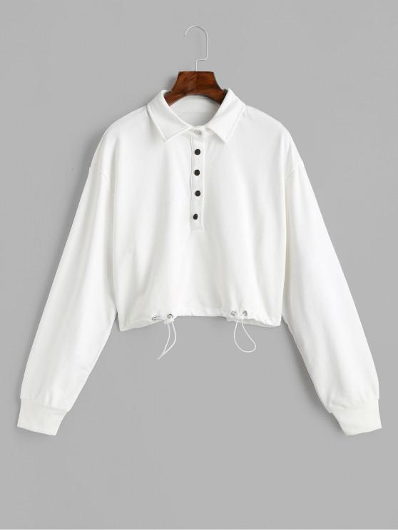 ladies Snap Button Solid Crop Sweatshirt - WHITE L
