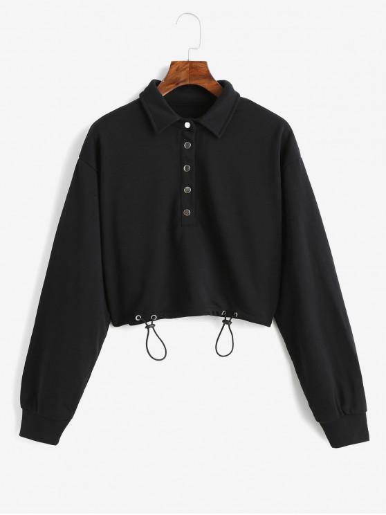 Sweatshirt Court en Couleur Unie à Bouton Pression - Noir S