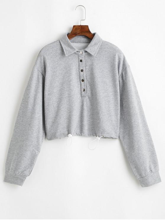 buy Snap Button Solid Crop Sweatshirt - GRAY S