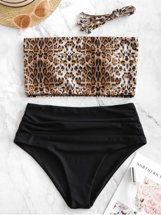 fancy ZAFUL Tie Leopard Ruched Bandeau Tankini Swimsuit - LEOPARD M