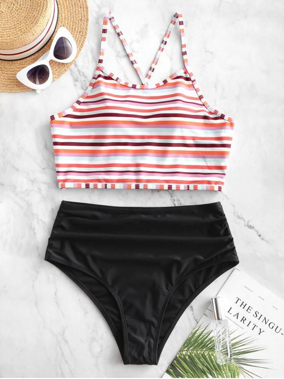 affordable ZAFUL Colorful Striped Lace Up Tummy Control Tankini Swimsuit - MULTI-A S