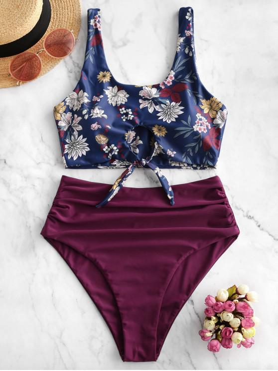 women's ZAFUL Floral Knot Cutout Ruched Tankini Swimsuit - MAROON L