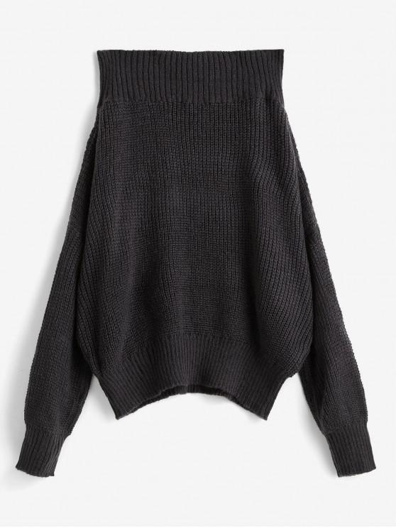 fashion Off Shoulder Solid Loose Sweater - GRAY L