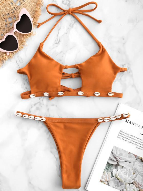 sale ZAFUL Shell Cutout Halter Bikini Set - SANDY BROWN M