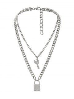 Lock Key Decoration Chain Necklace - Silver