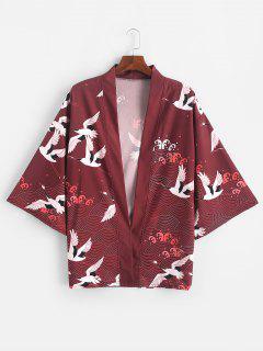 Flying Crane Sea Waves Print Open Front Kimono Cardigan - Red Wine Xl