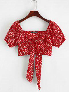 ZAFUL Tie Front Tiny Floral Crop Blouse - Red S