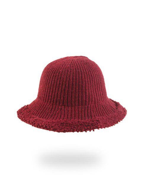 online Knitted Folding Rough Edge Bucket Hat - RED WINE  Mobile