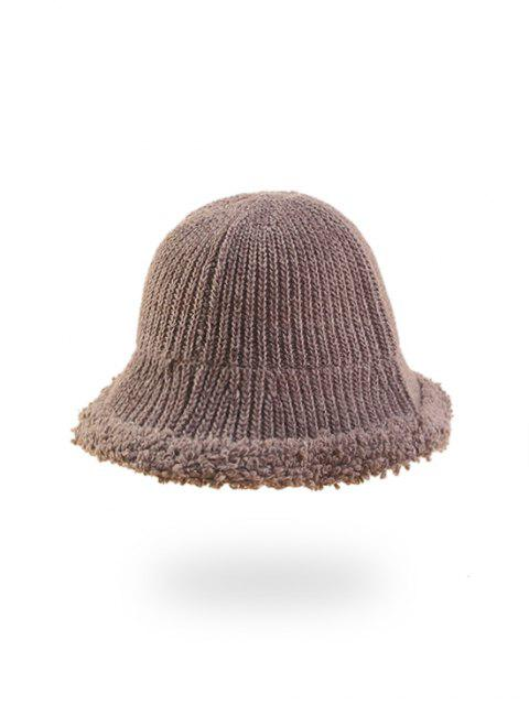 hot Knitted Folding Rough Edge Bucket Hat - KHAKI ROSE  Mobile