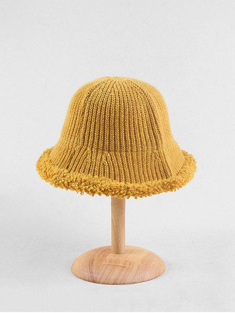 trendy Knitted Folding Rough Edge Bucket Hat - YELLOW  Mobile