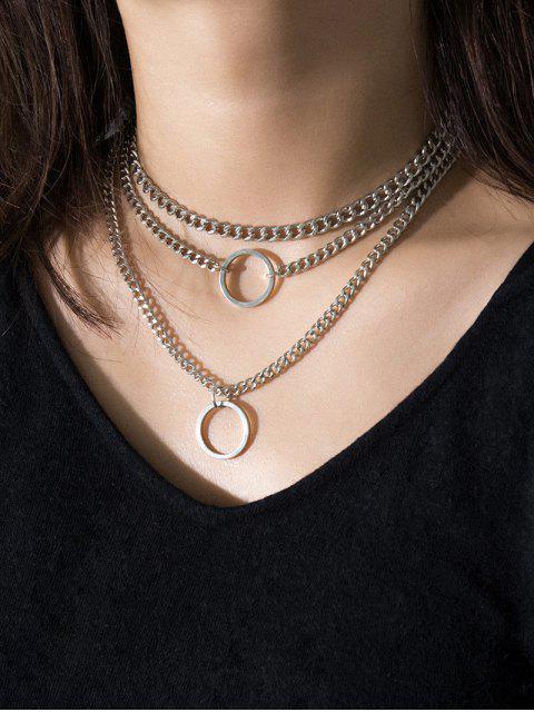 Круглое кольцо Цепное Ожерелье - Серебристый  Mobile