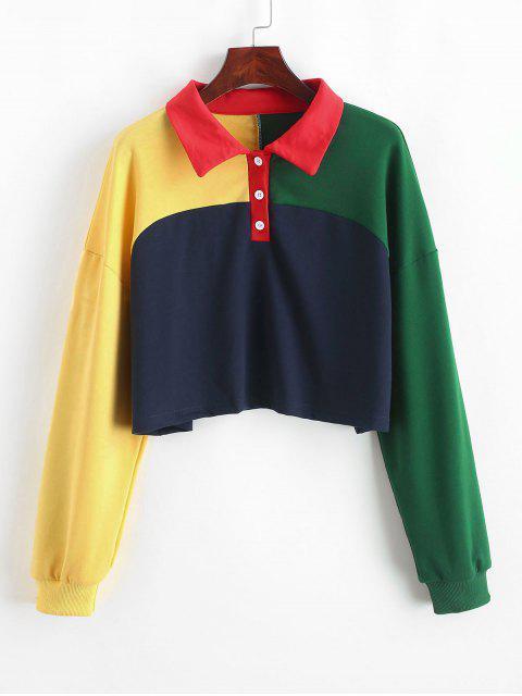 Sudadera corta con botones de medio color ZAFUL - Multicolor S Mobile