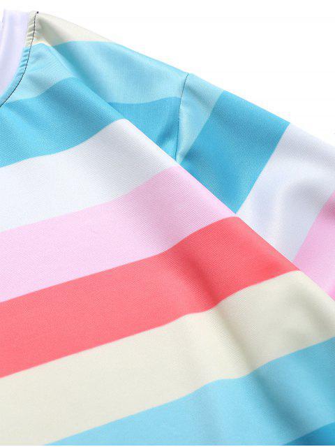 拼色拼接條紋休閒運動衫 - 輕的海藍寶石 2XL Mobile