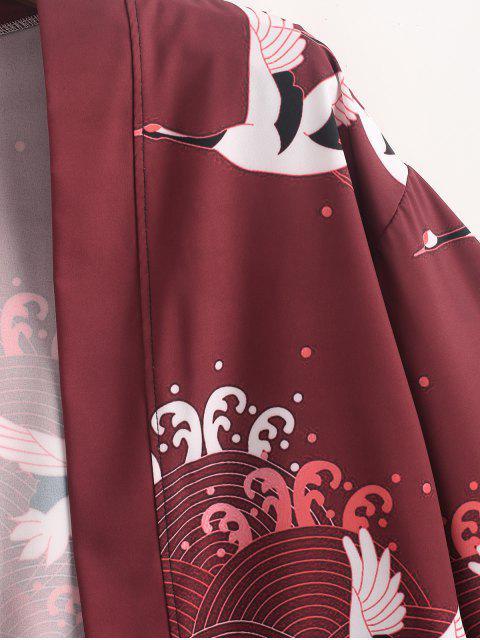 飛行起重機海浪打印開放前和服開衫 - 紅酒 L Mobile